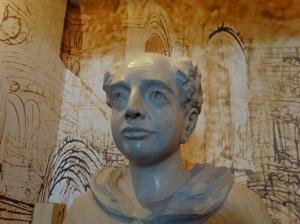 St. Thomas Aquinas statue, detail, Ames, Iowa